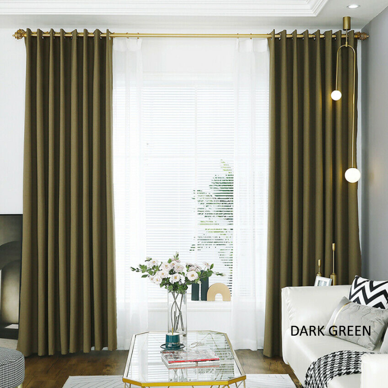 GDeal FULLY BLACKOUT Fine Linen Full Shading Wear Curtains Resistant Window Insulation Curtain Langsir (120CM x 160CM)
