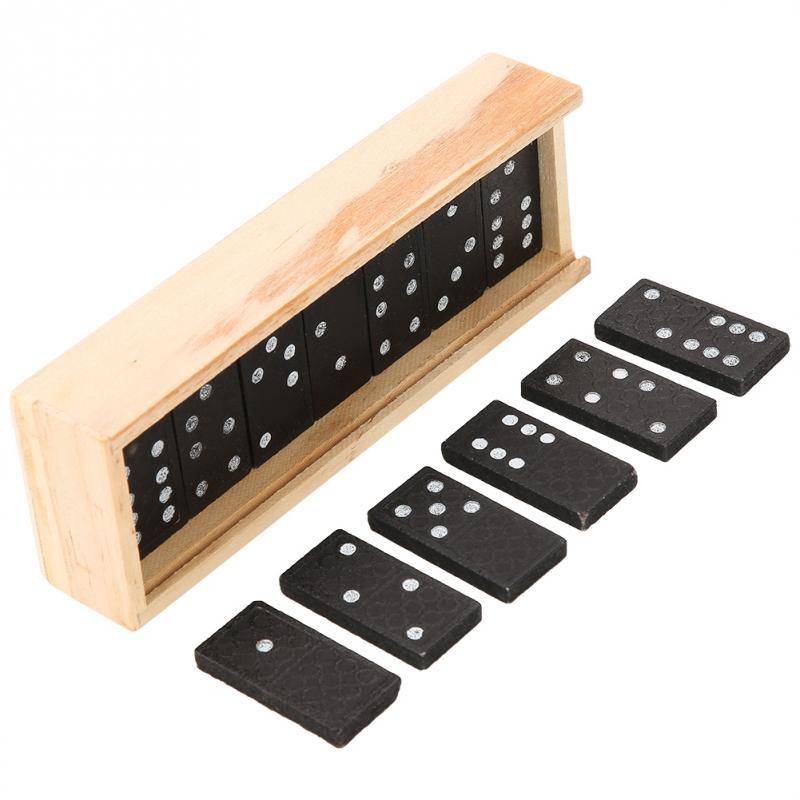 Domino Gaple Toy Wooden Board Game 28 Pcs D28 Black Shopee Malaysia