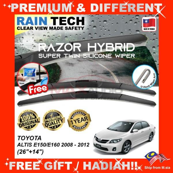 [FREE Gift] TOYOTA ALTIS E150/E160 2008-12 (26/14) RAIN-TECH RAZOR HYBRID Silicone Aerodynamic Clean N Safety Wiper Blade
