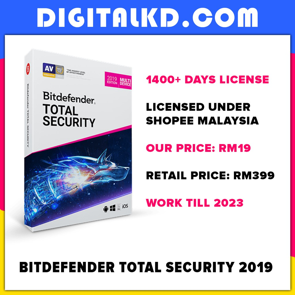 BitDefender Total Security 2019 (1400+ Days License) Best Premium Antivirus