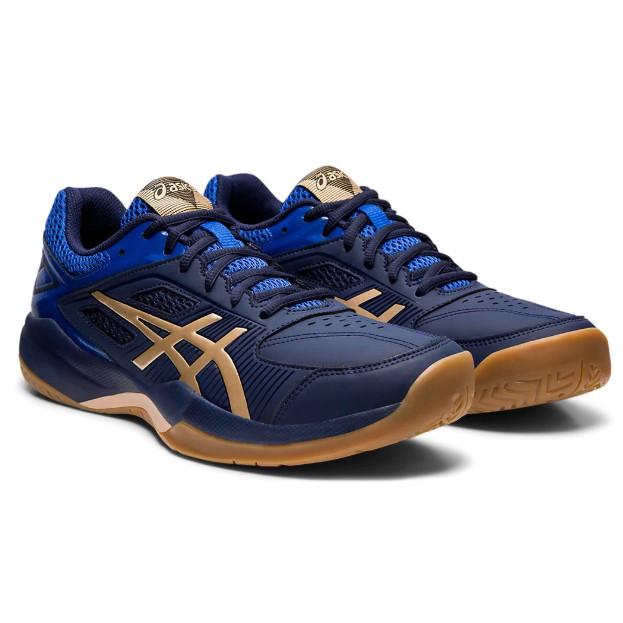 Asics Gel Court Hunter (Blue/Red/White) Original 100% Court Shoes , Badminton Shoes