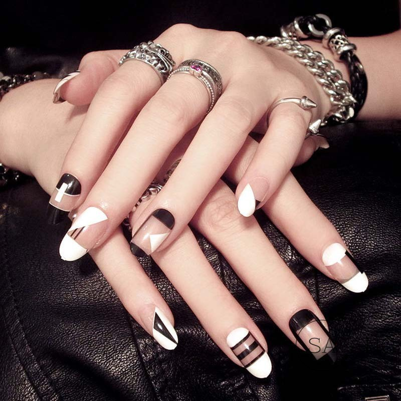 Fashion Design Fake Nail Black White False Nails Tips DIY Nail Art Geometry Design Nails