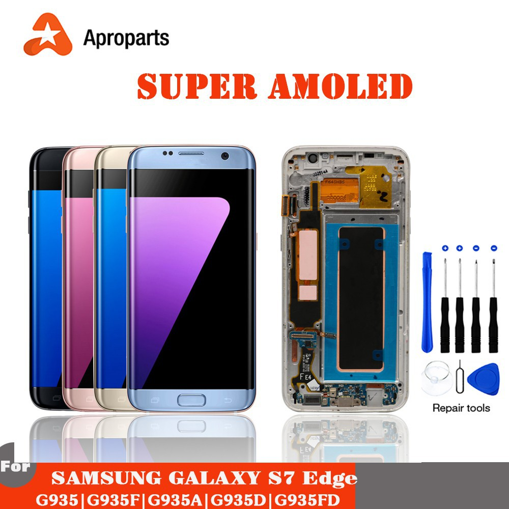 ORIGINAL 5 5'' SUPER AMOLED LCD For Samsung S7 Edge G935 G935F G935A  Display Touch Screen With Frame