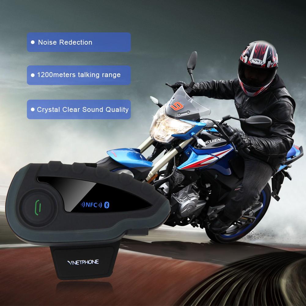 V8 Motorcycle Helmet Bluetooth Headset 5 Riders Intercom FM Radio NFC Interphone