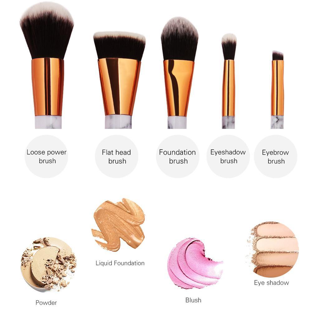 98c1900b2ad3b 5pcs Makeup Brush Kit Eyebrow Blush Foundation Powder Beauty Cosmetic Brush