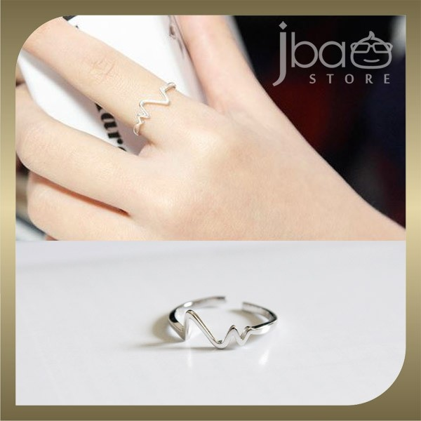 Heart Beat Open Ring 925 Sterling Silver Rings Birthday Valentine Gift