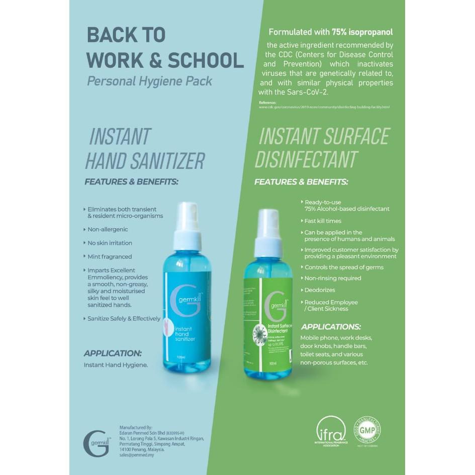 Germkill Instant Hand Sanitiser 500ml BUY 2 FREE Surface disinfectant spray 100ml