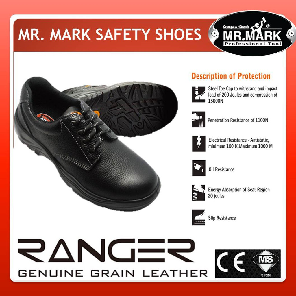 0bf46a5fdf1e Mr. Mark MK-280N RANGER Genuine Leather Low Cut Safety Shoes (Size UK   3- 11)