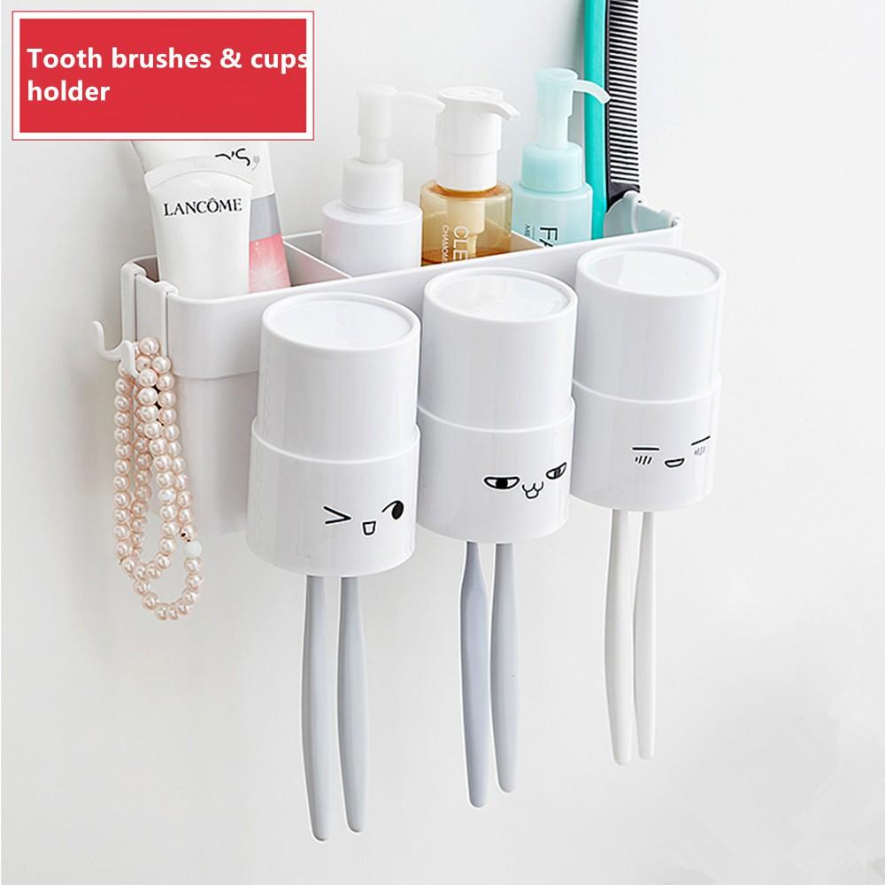 Bathroom Wall Storage Box Hooks Toothbrushes Mugs Holder Toiletries Storage  Rack