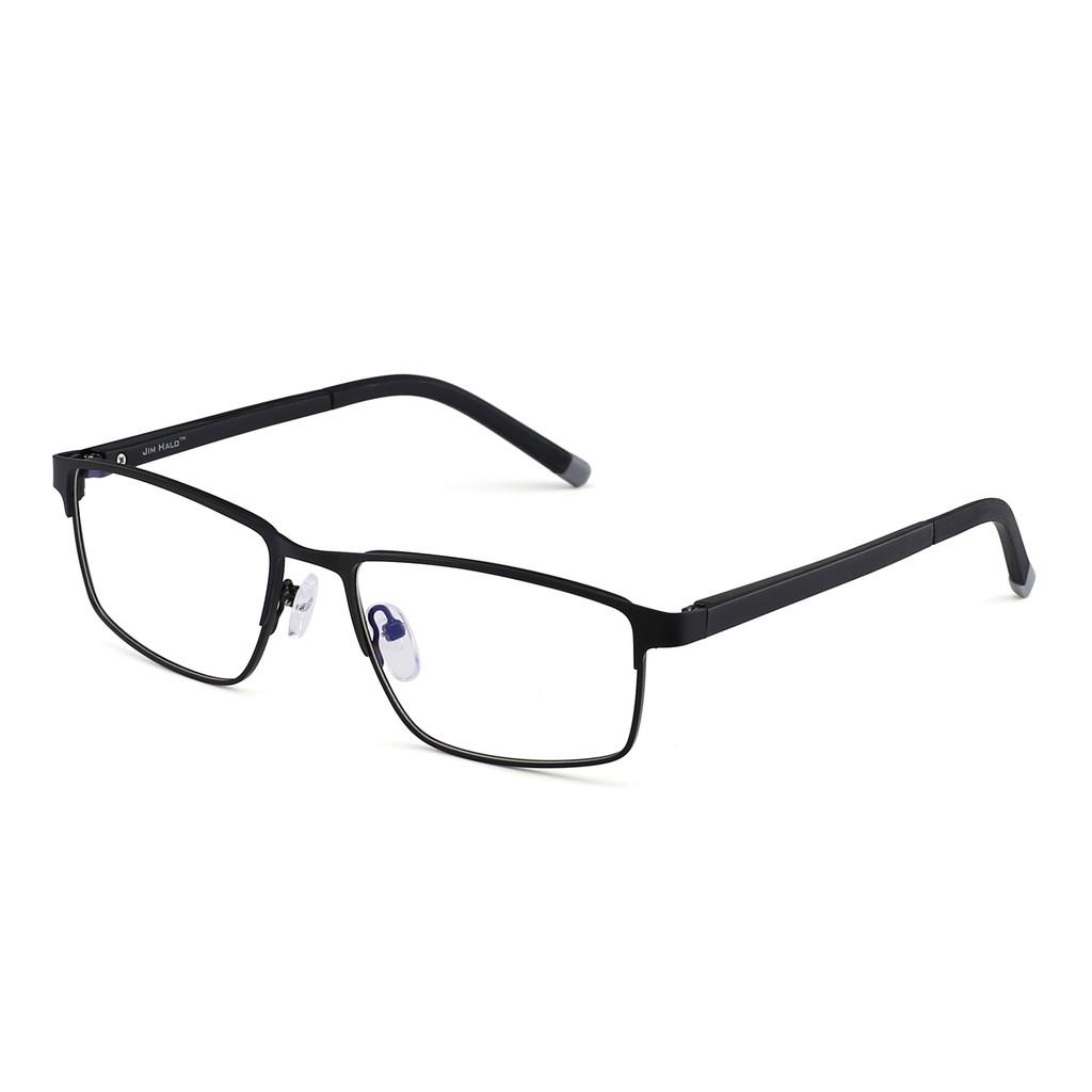 Rectangle Optical Frame Glasses Spring Hinge Metal RX-able Eyeglasses Clear Lens