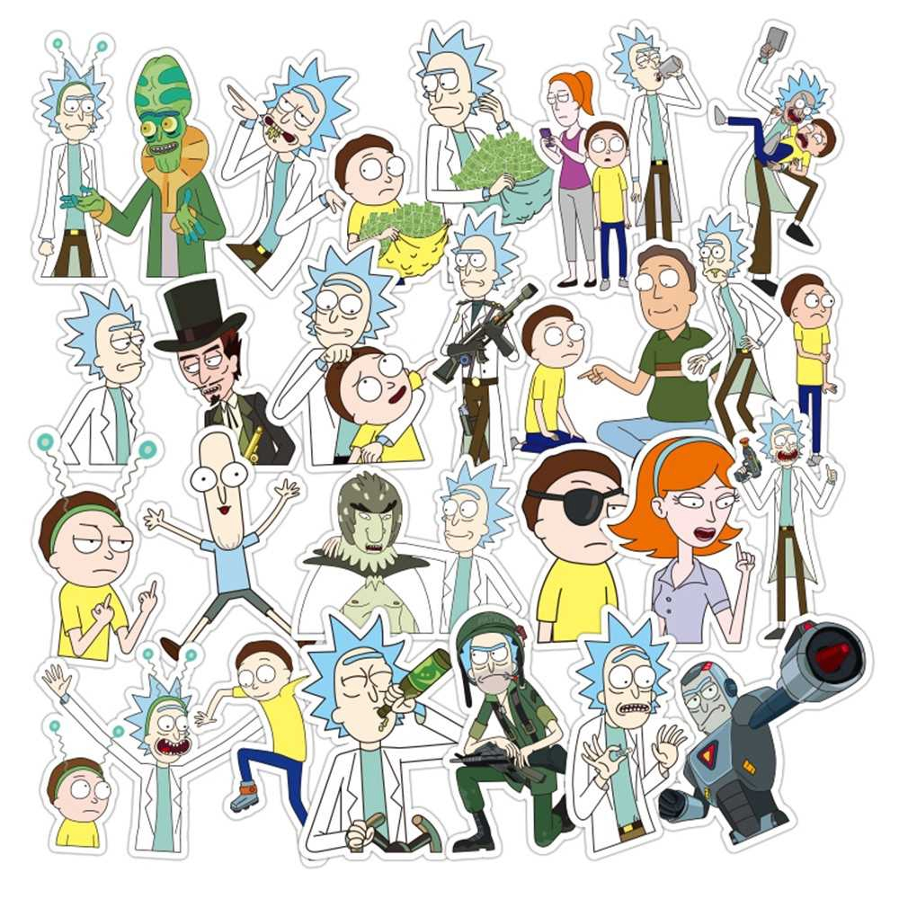 35Pcs/bag American Drama Rick and Morty trendy Sci-fi Animation Image Stickers sun protection and waterproof (1)
