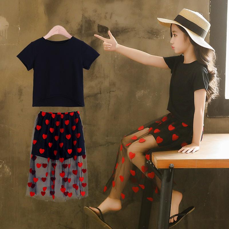7817426f77 Embroidery Heart Teen Skirt Sets Girls Summer 2019 Fahion Clothing Tops  Skirt 50