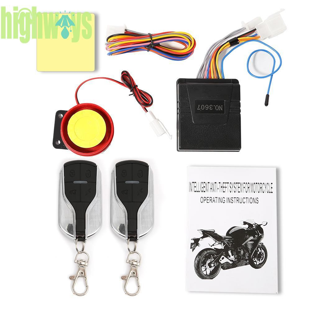 Universal 12V One-way Scooter Anti-theft Security Protection with Remote Control Akozon Mototrcycle Alarm System