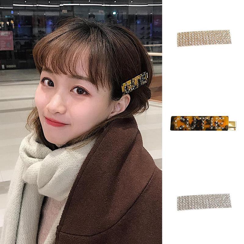 Fashion Women Crystal Leopard Hair Clips Barrette Stick Hairpin Hair Accessories