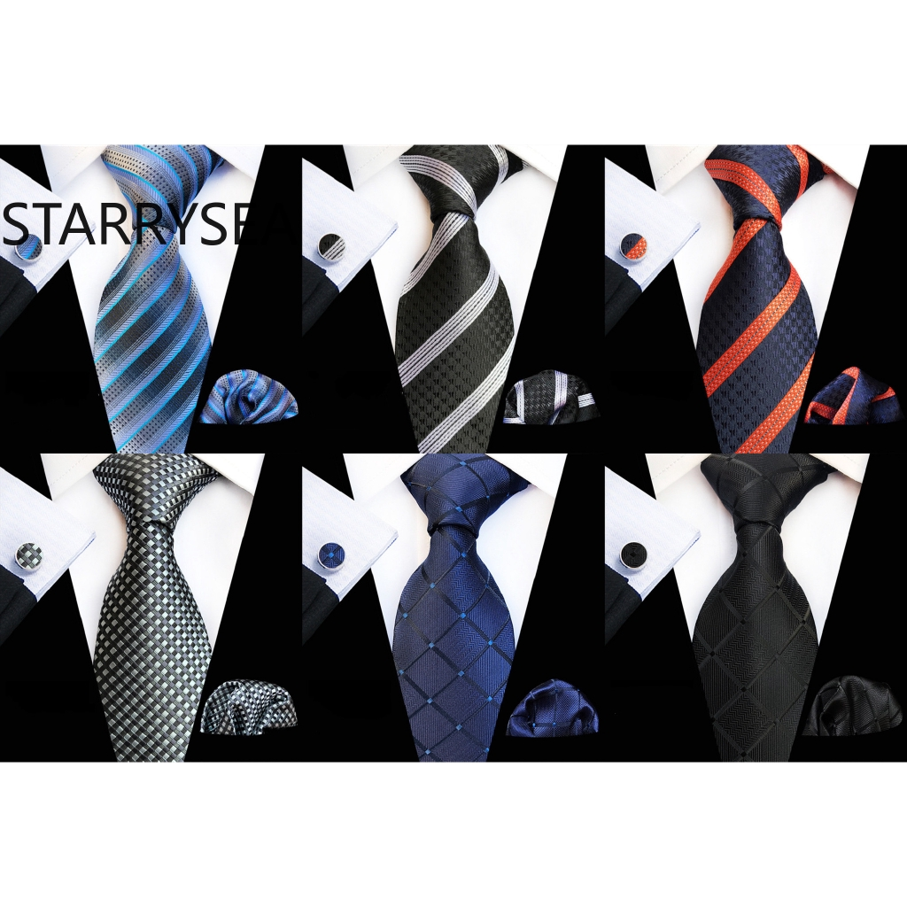 Classic Blue Red Black Men Necktie Solid Stripe Floral Silk Tie Hanky Wedding