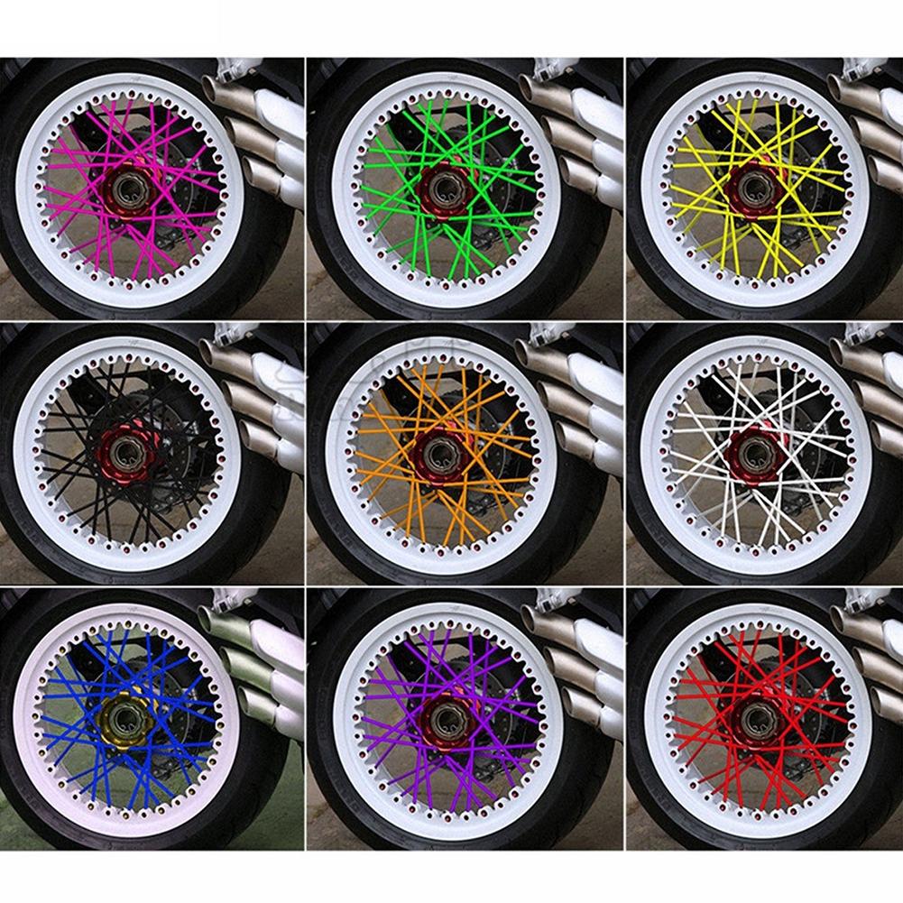 72pcs Motorcycle Spoke Covers Universal Motorcycle Spoke Skins Street Bike Wheel Spoke Wraps Covers Kit Orange
