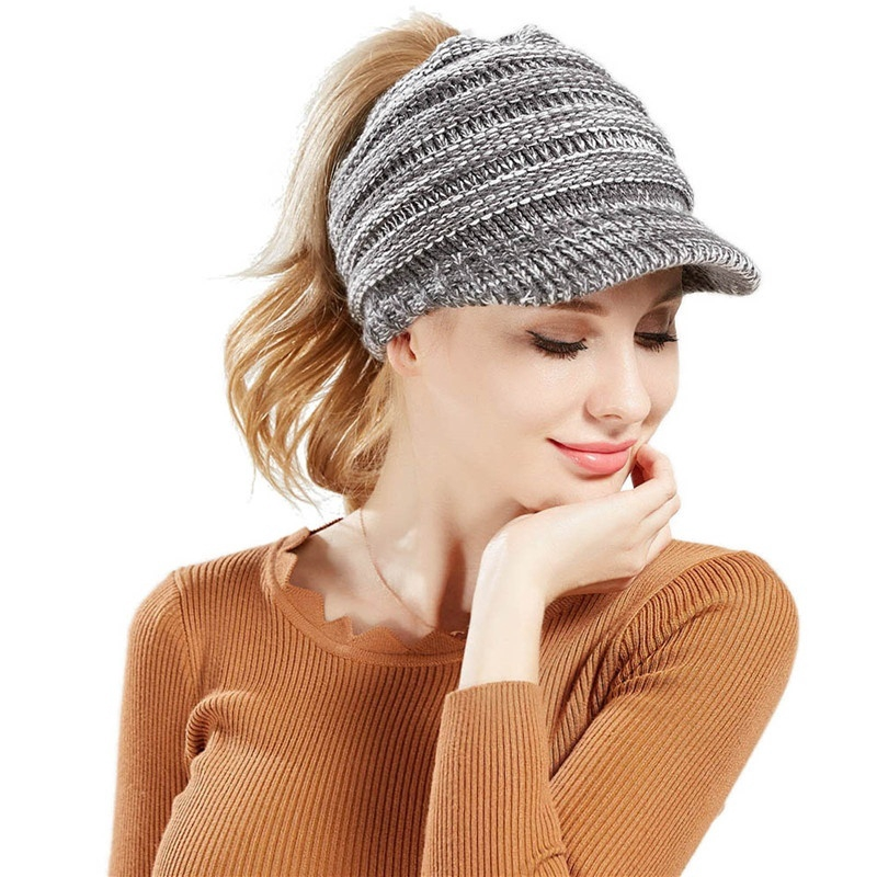 57f69b610f88 ProductImage. ProductImage. 12 Colors Women Winter Warm Crochet Baseball  Caps Stretch Ponytail Knitted Cap