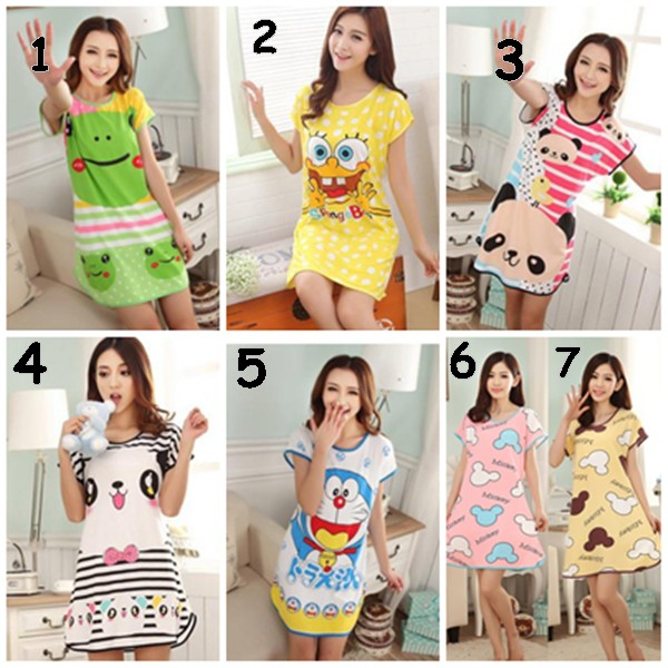 #Baju Tidur Nightwear Cartoon Sleepwear cute Skirt Pajamas Casual Wear