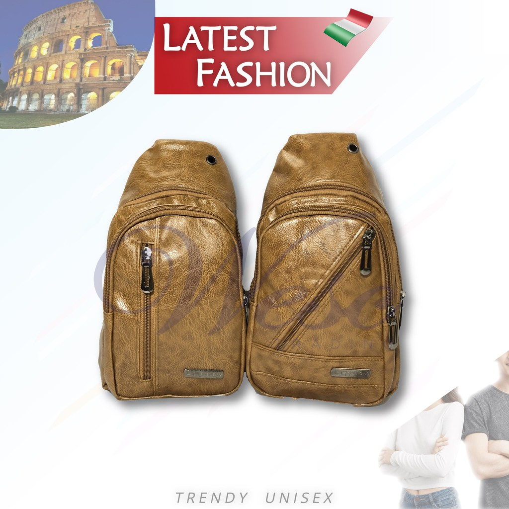 ITALIAN Fashion LEATHER Chest Bag - European Standard @ Export Quality (LIGHT BROWN)