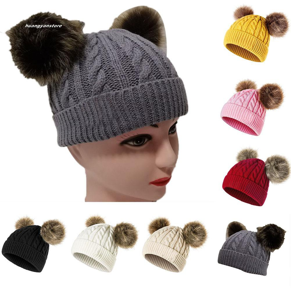 93fa1cef4 Cali☆Winter Cute Baby Boy Girl Double Pompom Beanie Cap Toddler Warm  Knitted Cap Hat