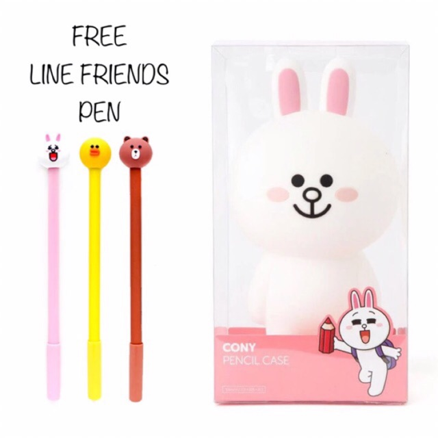 LINE FRIENDS Standing Silicone Pencil Case One Size Cony