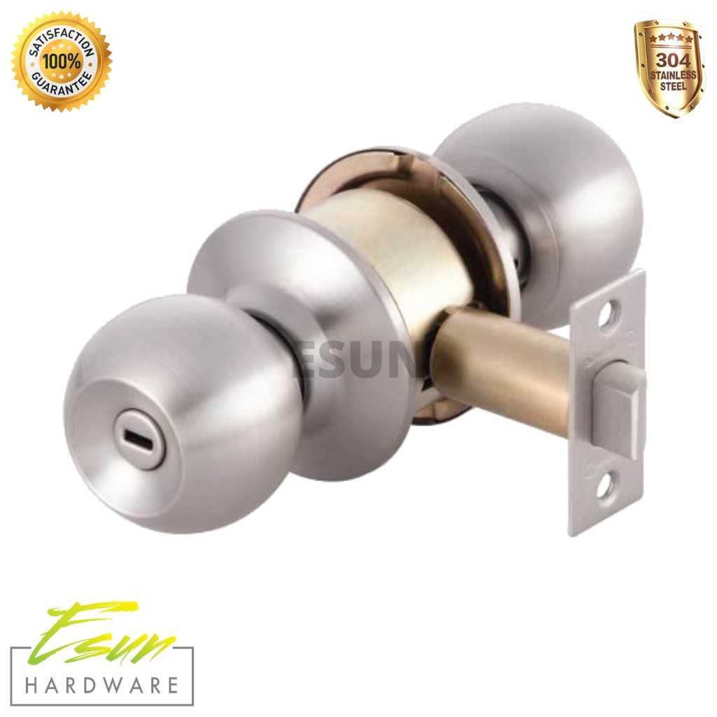 Picture of: Syngress Bathroom Stainless Steel Cylindrical Brass Door Knob Lock No Key Backset 70mm 60mm Shopee Malaysia
