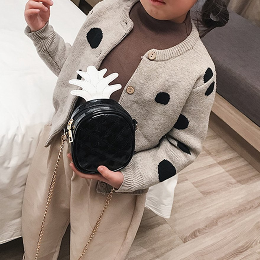 ✯CHD✯Children PU Bag Fashion Pineapple Crossbody Bag Casual Sling Bag Phone Bag