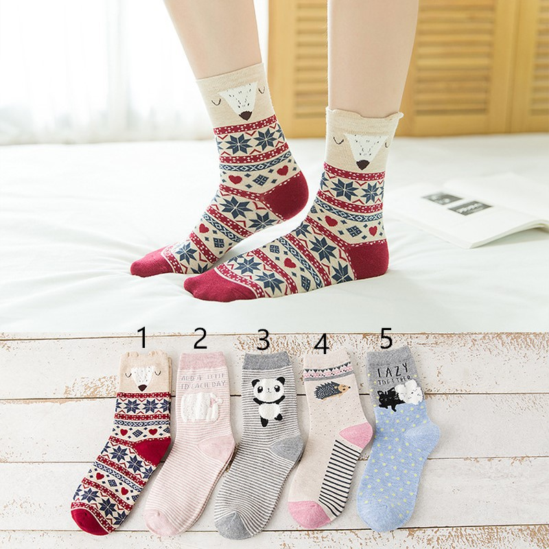 21548978ee8c Fashion cute creative cartoon pattern embroidery ladies cotton socks Gift  Winter | Shopee Malaysia
