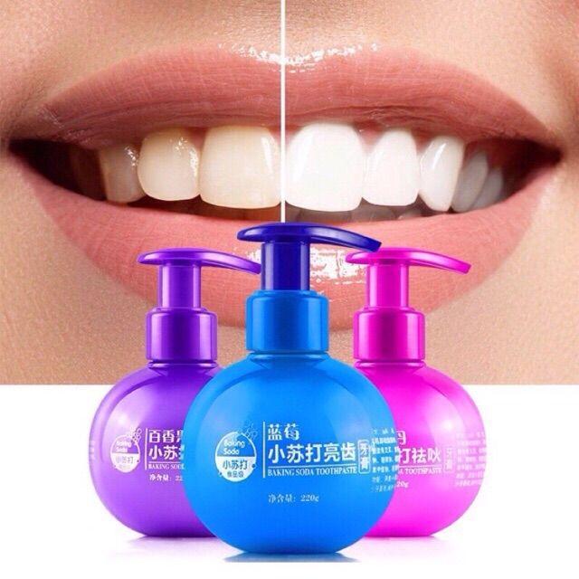买一送一 小苏打按压式去烟渍去口臭美白牙膏 toothpaste