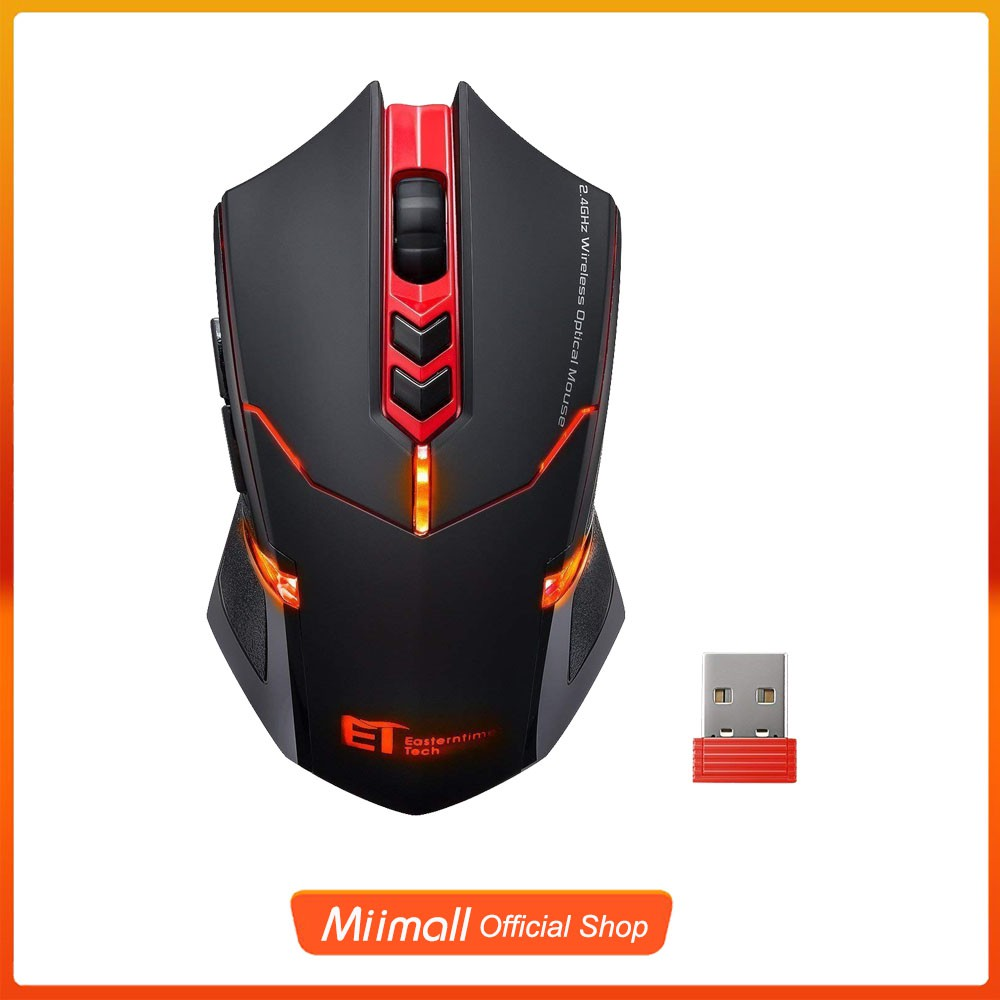 T1 Wireless Gaming Mouse w// Unique Silent Click Optical 2400 DPI for PC Laptop