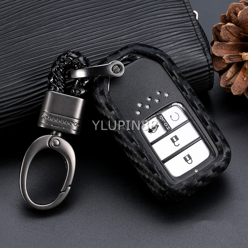 Key Chain Ring With ABS+Carbon Fiber Car Remote Key Bag Holder Case For Honda