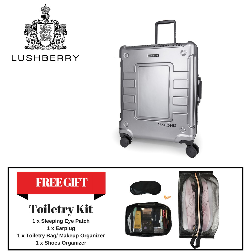 Lushberry Airwolf 4 Polycarbonate Hard Case Premium Luggage Travel Bags Tsa Recognized 23 Free 4 In 1 Toiletry Kit Shopee Malaysia