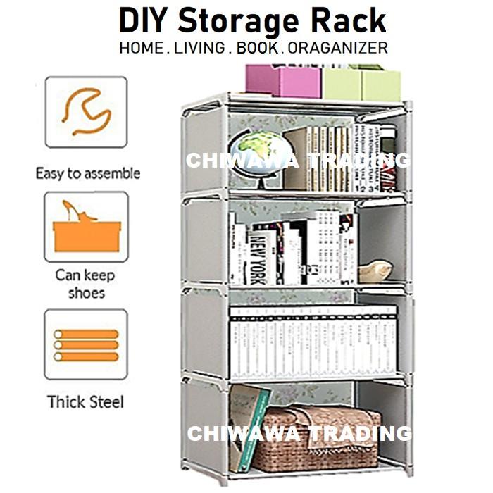 Book Shelf Shoes Storage Rack Dust Cover Wardrobe Shoe Closet Cabinet Organizer / Almari Rak Buku Kasut