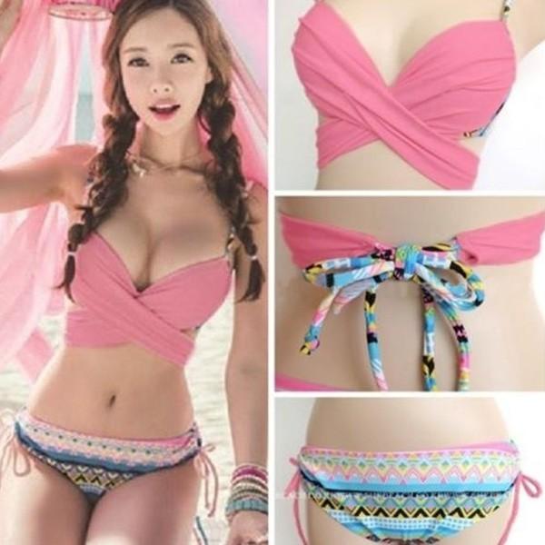 5f9f114f0a vake-Fashion Women Sexy Handmade Crochet Knit V-neck Halter Bra Beach Bikini  Top