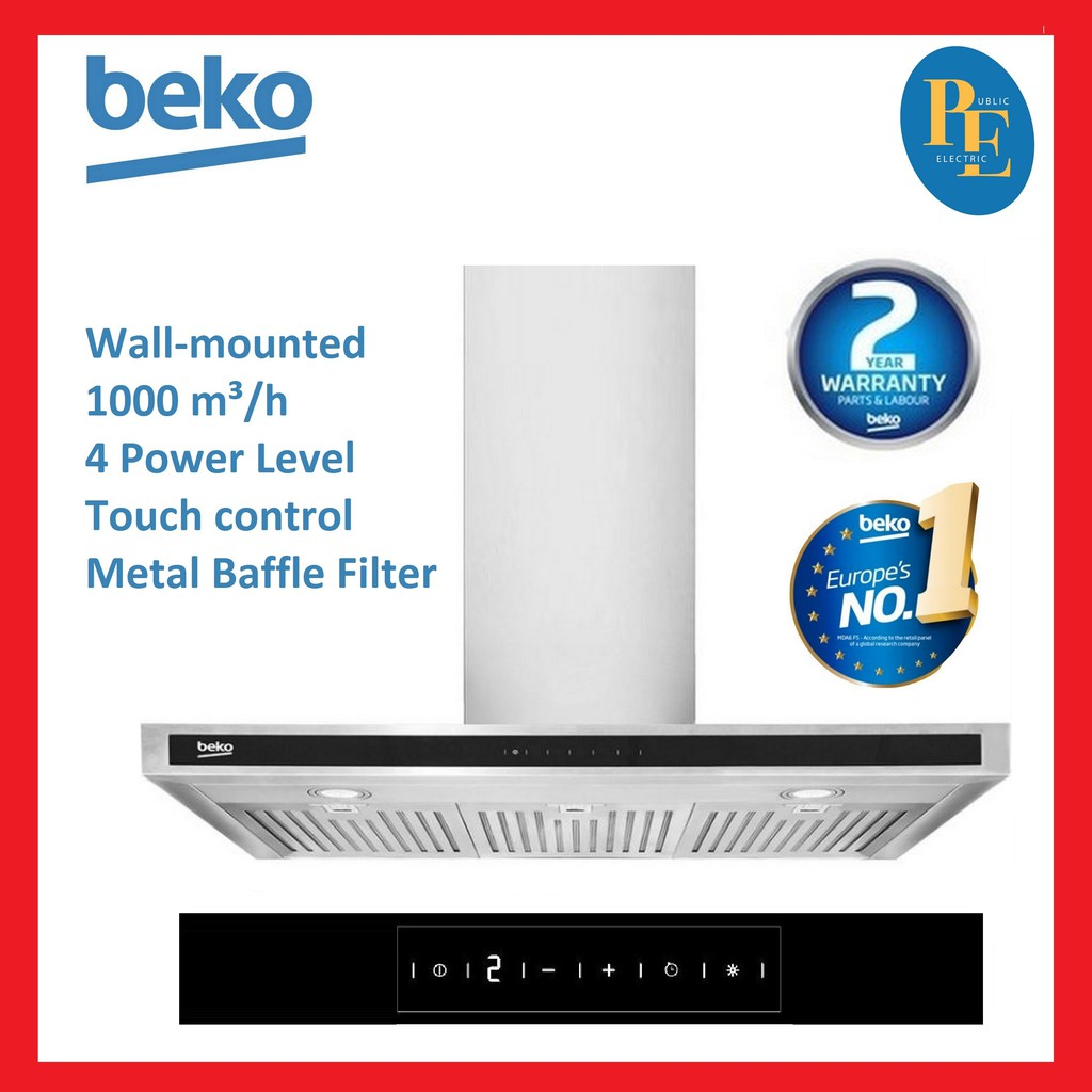 Beko Touch Control Chimney Cooker Hood - HCB93042X