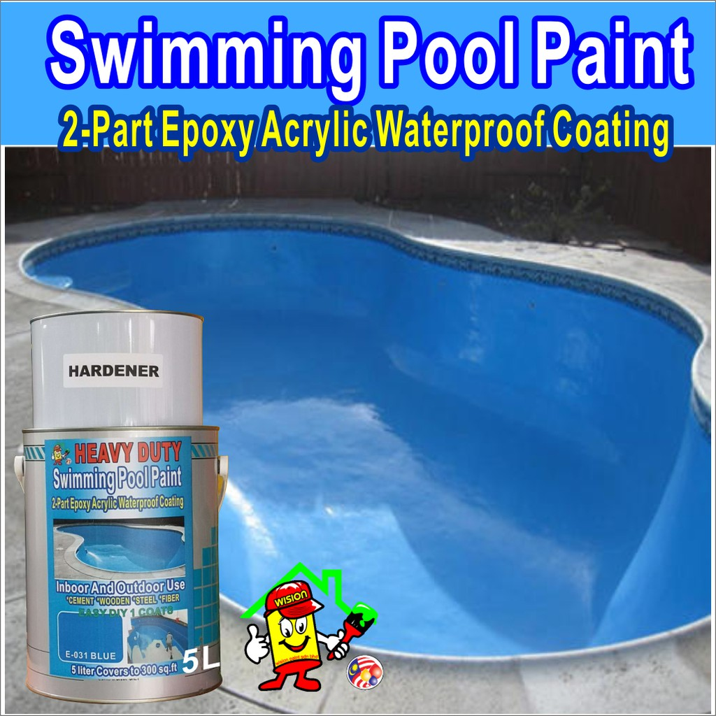 BLUE E031 ( 5L ) SWIMMING POOL PAINT 2 PART EPOXY ACRYLIC WATERPROOF  COATING PAINT INDOOR AND OUTDOOR USE HEAVY DUTY
