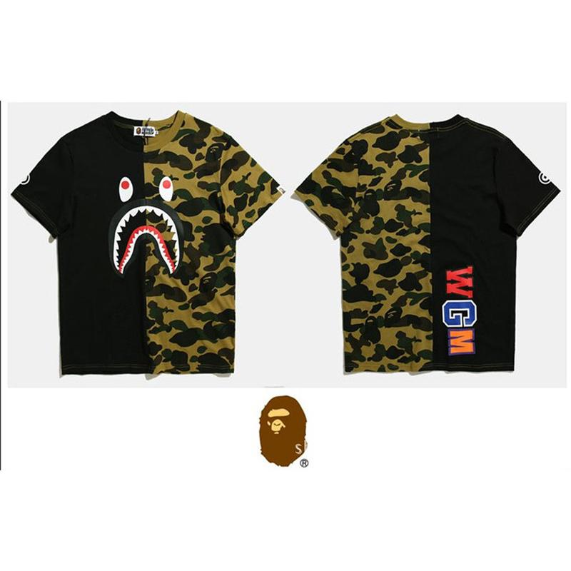 ab3afbcf7 Hip Hop Bape Camouflage Shark Tops Tees Fashion Mens Short Sleeve T Shirt