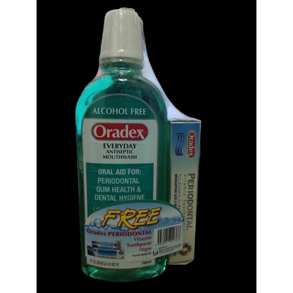 Oradex™ Everday Antiseptic Mouthwash 750ml (Free Oradex Periodontal Vitamin Toothpaste 50gm)