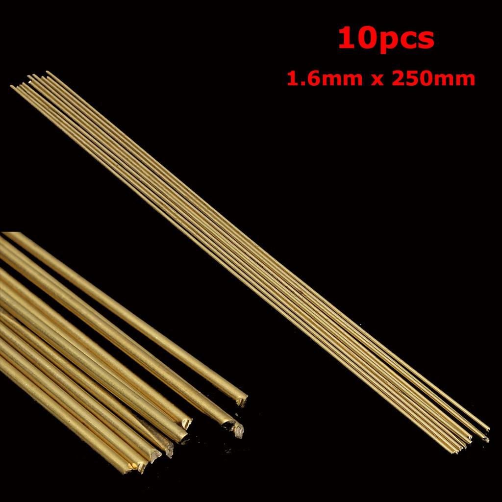 10Pcs 1.6mm x 250mm HS221 Brass Welding Rods Brass Brazing Rods