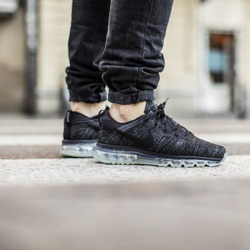 78ddce50390d Men s Nike Flyknit Air Max Running Shoes  Black Black Dark Grey Anthracite