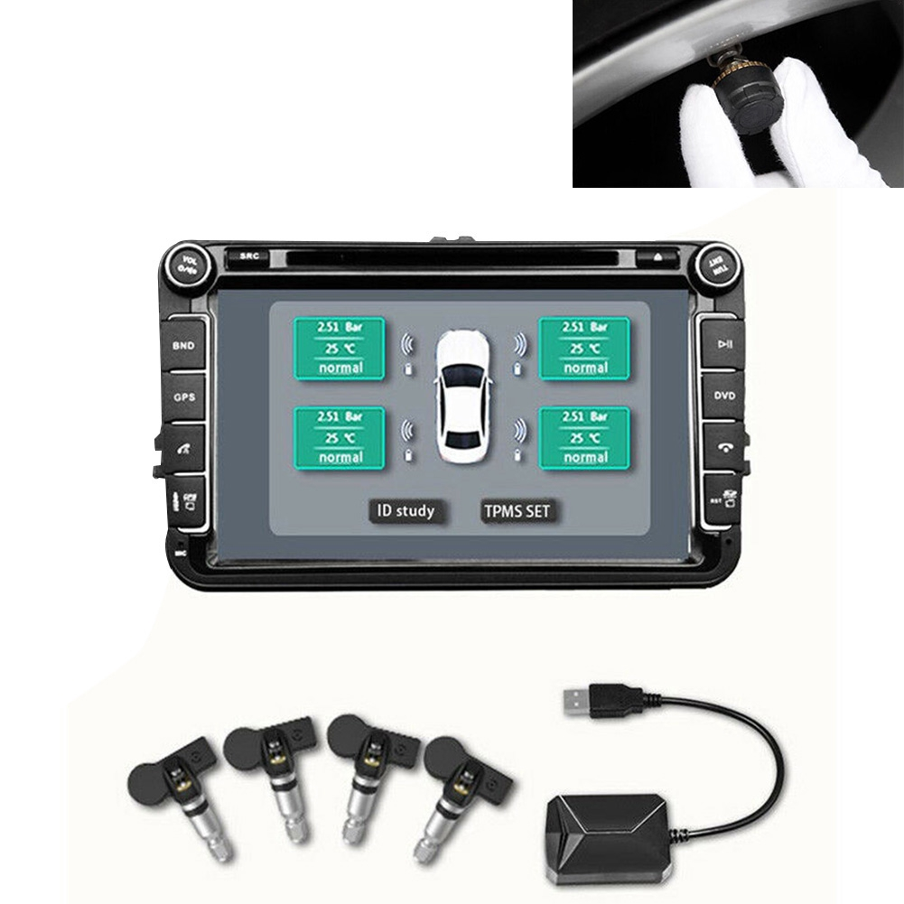 USB TPMS Car Wireless Transmission For Android Easy Install Digital Auto  Alarm Real-time Display Tire Pressure Monitor