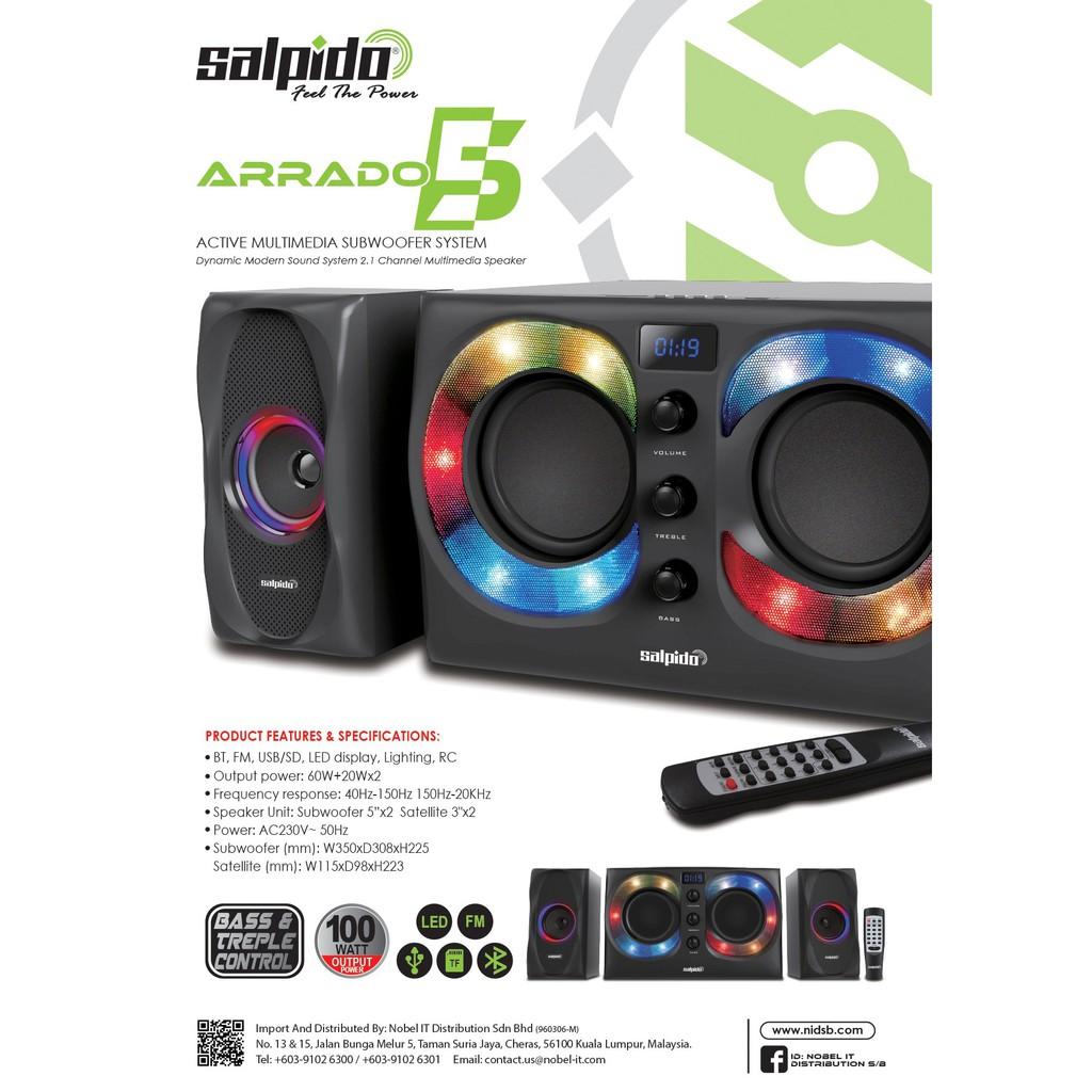 Salpido 2.1 Channel Multimedia Speaker Arrado 5 - 100 Watt, Bass & Treple Control