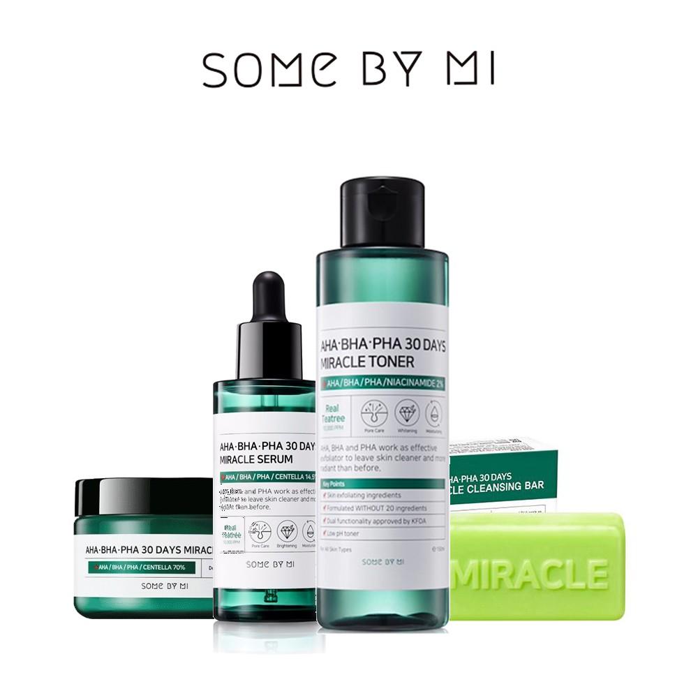 Some By Mi AHA.BHA.PHA 30 Days Miracle Set (Toner + Serum + Soap + Cream) | Shopee Malaysia
