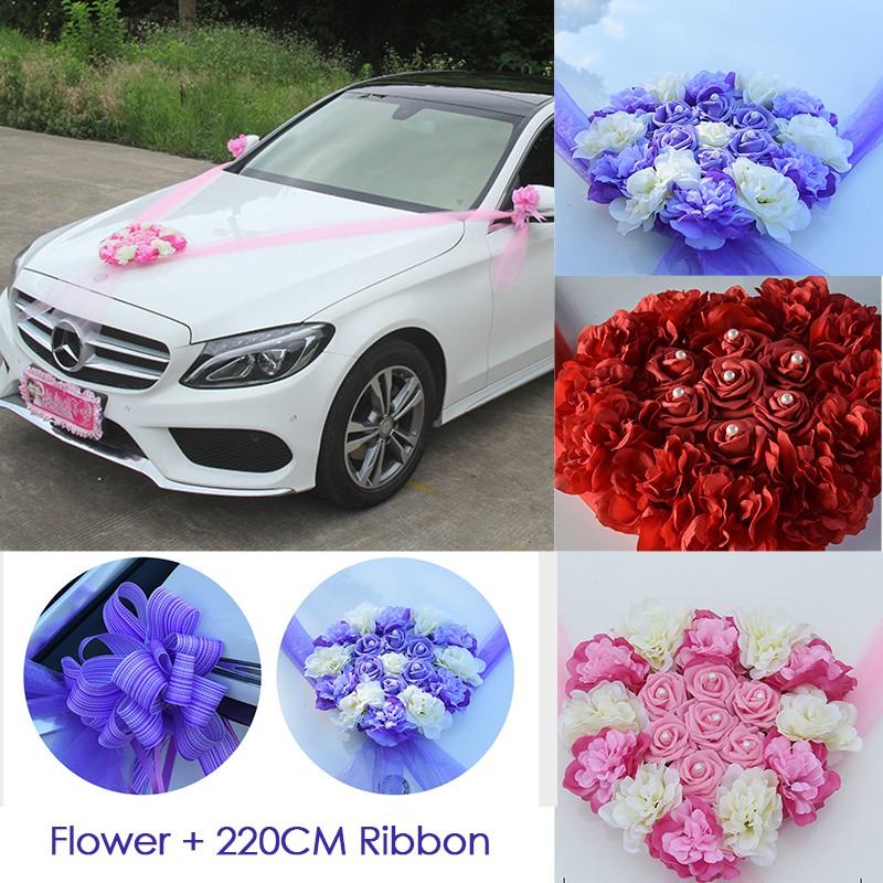 Wedding Car Decoration Flowers Car Decor Artificial Rose And Ribbon Romantic Wedding Decoration Garden Party Decor