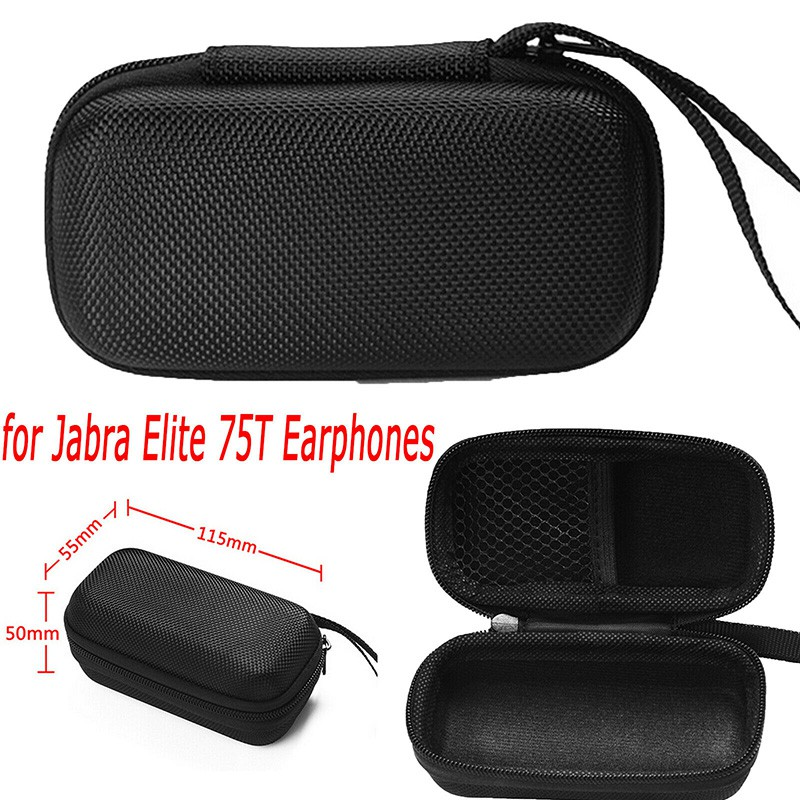 For Jabra Elite 75t Earphone Carrying Bag Box Case Cover Zipper Pouch Shockproof Shopee Malaysia