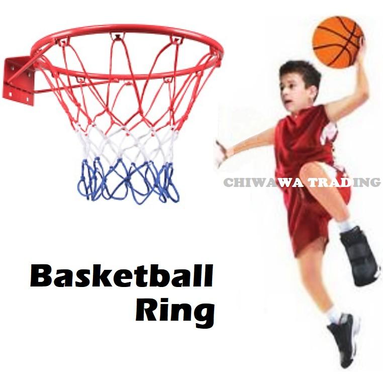 48cm Wall Mounted Basketball Ring Tournament Sports Game Rim Hoop Bracket + Net