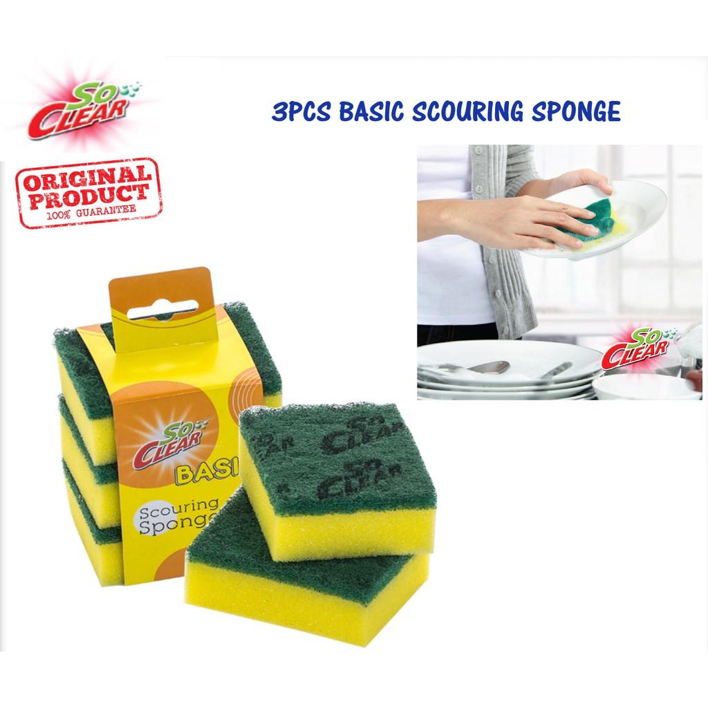 Basic 3 Pcs Scouring Sponge Elianware  SoClear Heavy Duty Kitchen Cleaning Scouring Sponge