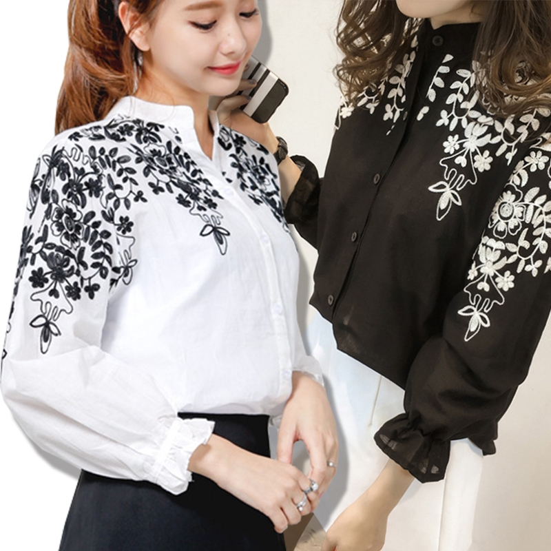 Women Cotton Linen Striped Stand Collar Embroidery Long Sleeve Button Shirt Tops