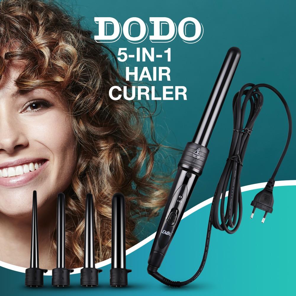DODO Pro Salon 5-in-1 Interchangeable Hair Curling Iron Multi-size Roller Heat Resistant Glove Styling Set