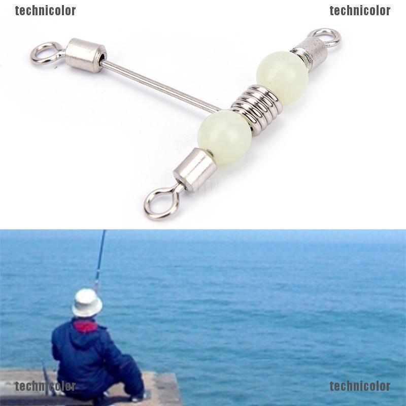 Fishing 3 Way Rolling Swivel T-shape Cross-line Mini with Luminous Beads